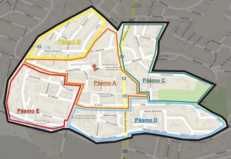 Mapa rezidentských pásiem